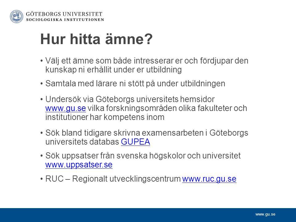 www.gu.se Hur hitta ämne.