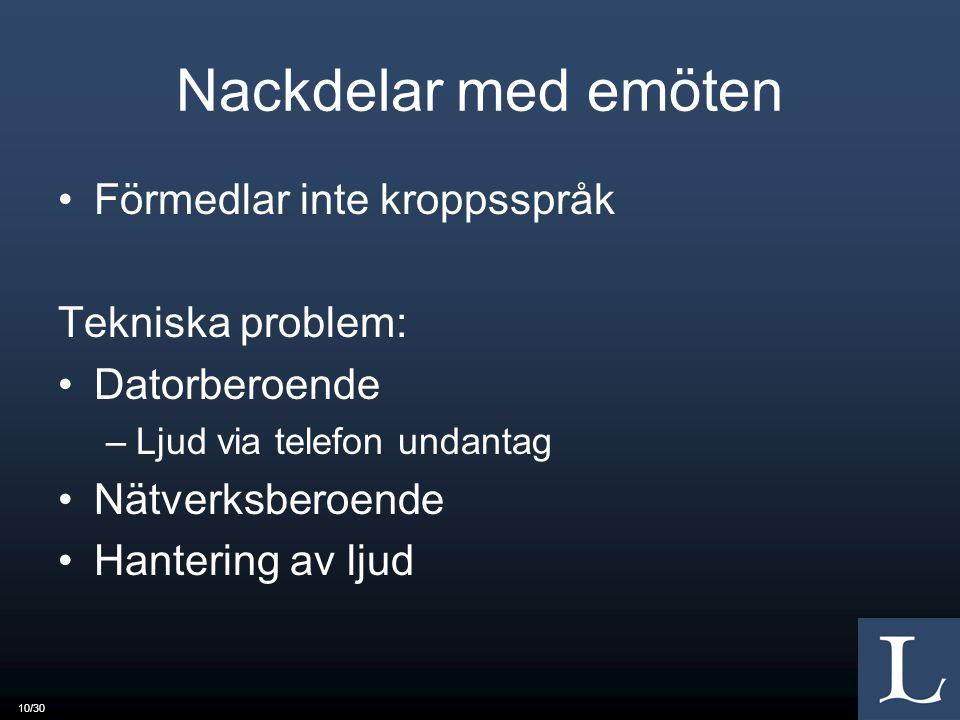 10/30 Nackdelar med emöten Förmedlar inte kroppsspråk Tekniska problem: Datorberoende –Ljud via telefon undantag Nätverksberoende Hantering av ljud