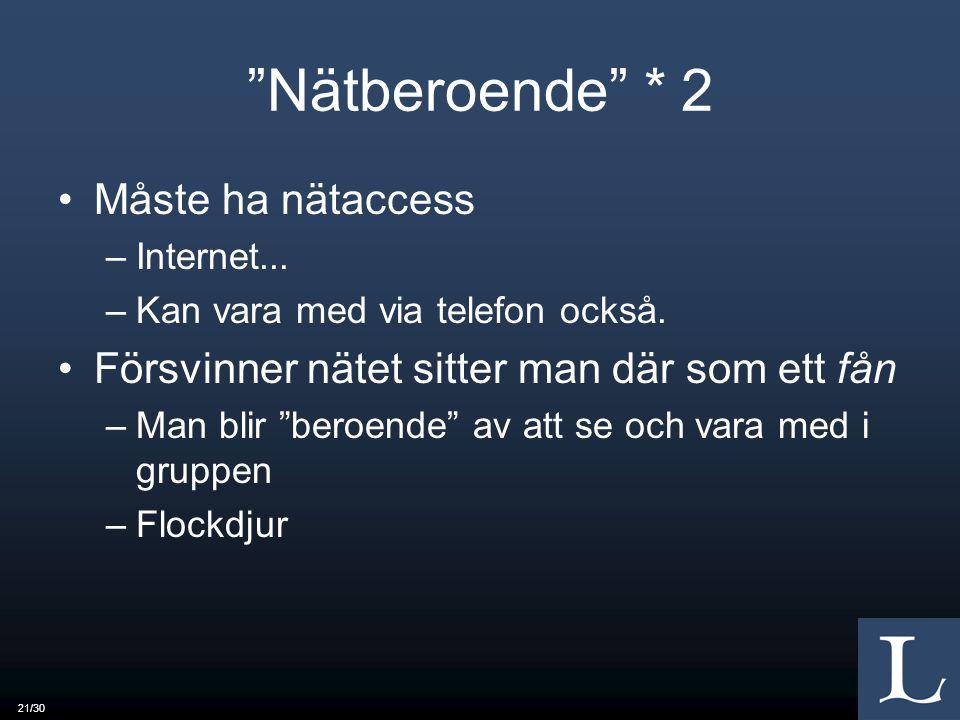 21/30 Nätberoende * 2 Måste ha nätaccess –Internet...