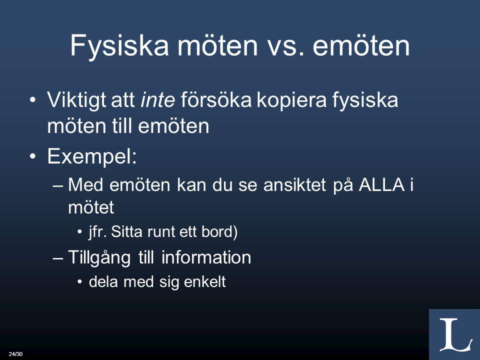 24/30 Fysiska möten vs.
