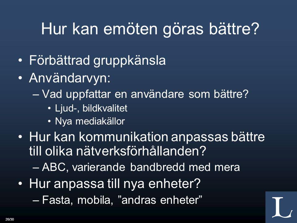 26/30 Hur kan emöten göras bättre? Förbättrad gruppkänsla Användarvyn: –Vad uppfattar en användare som bättre? Ljud-, bildkvalitet Nya mediakällor Hur