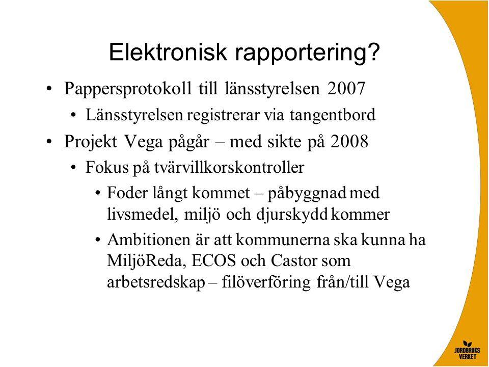 Elektronisk rapportering? Pappersprotokoll till länsstyrelsen 2007 Länsstyrelsen registrerar via tangentbord Projekt Vega pågår – med sikte på 2008 Fo
