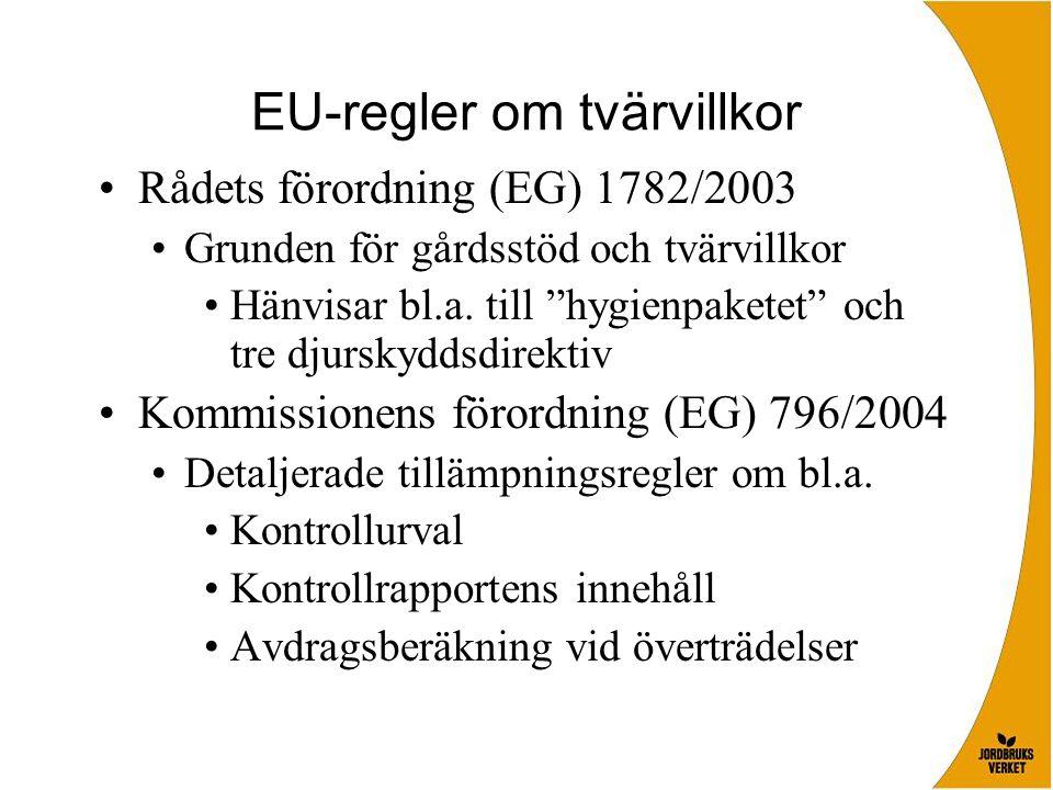"""EU-regler om tvärvillkor Rådets förordning (EG) 1782/2003 Grunden för gårdsstöd och tvärvillkor Hänvisar bl.a. till """"hygienpaketet"""" och tre djurskydds"""
