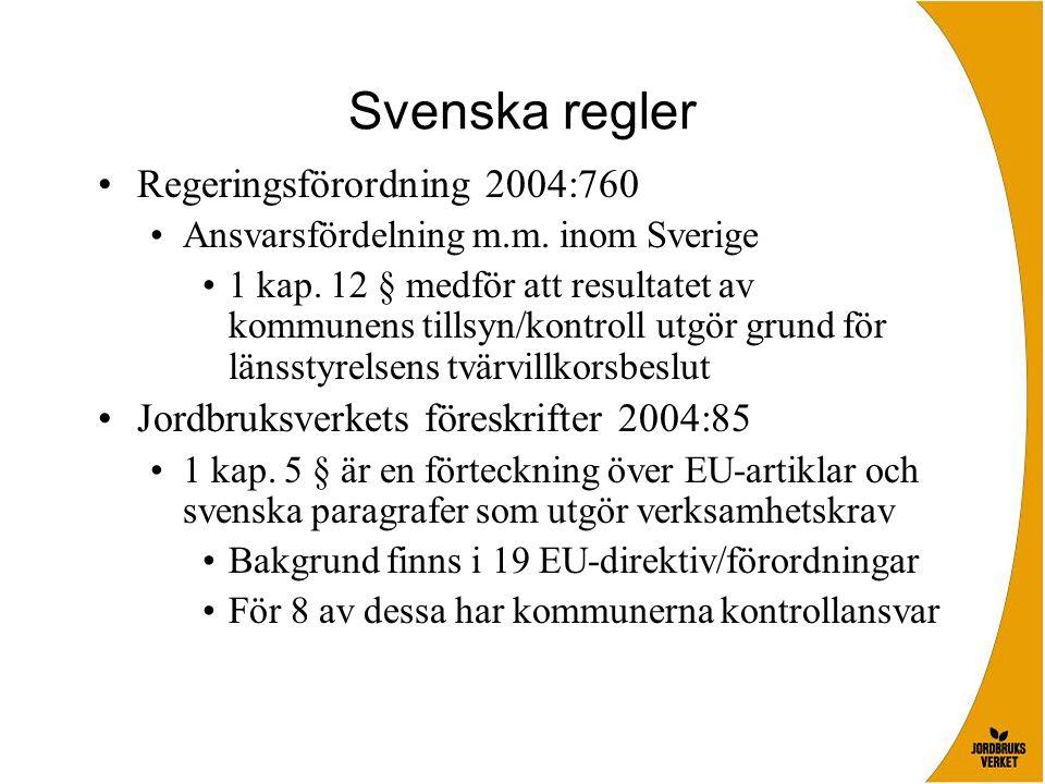 Svenska regler Regeringsförordning 2004:760 Ansvarsfördelning m.m. inom Sverige 1 kap. 12 § medför att resultatet av kommunens tillsyn/kontroll utgör