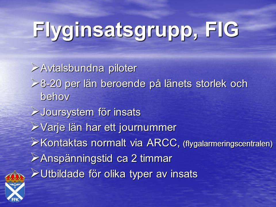 Flyginsatsgrupp, FIG  Avtalsbundna piloter  8-20 per län beroende på länets storlek och behov  Joursystem för insats  Varje län har ett journummer