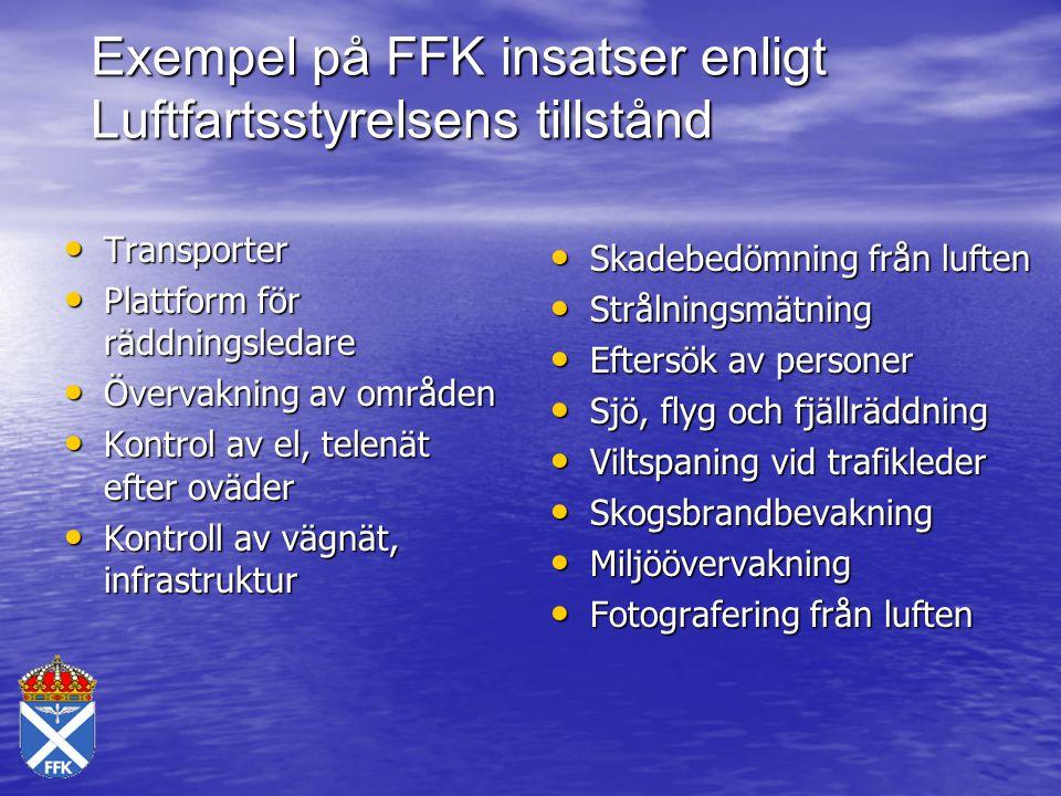 Exempel på FFK insatser enligt Luftfartsstyrelsens tillstånd Transporter Transporter Plattform för räddningsledare Plattform för räddningsledare Överv