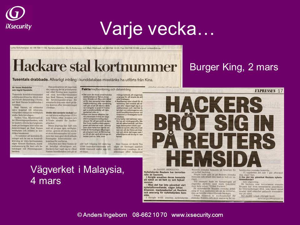 © Anders Ingeborn 08-662 10 70 www.ixsecurity.com Varje vecka… Vägverket i Malaysia, 4 mars Burger King, 2 mars