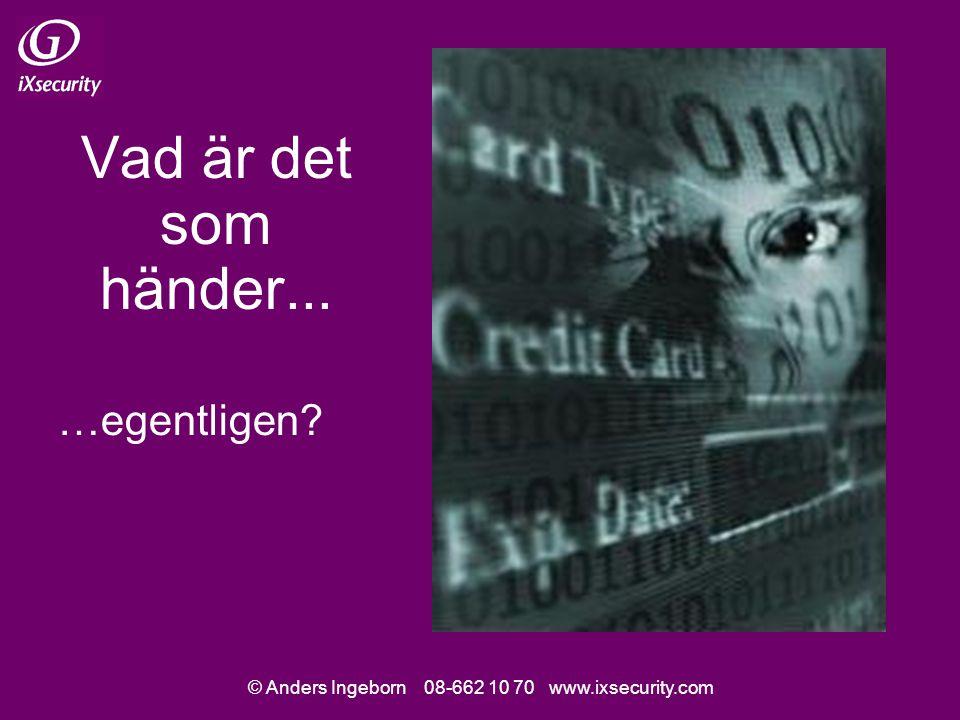 © Anders Ingeborn 08-662 10 70 www.ixsecurity.com Dagens föreläsning Förklarade exempel ur verkligheten – Distansarbete & VPN – Kontorsapplikationer – Tunna klienter – Serverangrepp via HTTP, SQL & ASP – Buffer overflowbrister Något om trender & boktips
