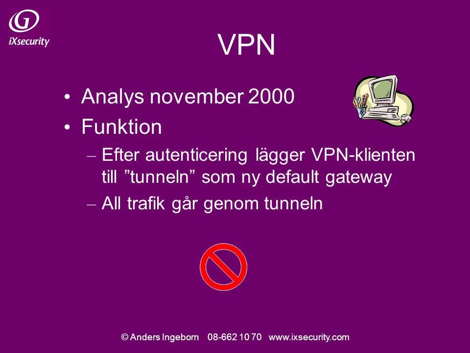 © Anders Ingeborn 08-662 10 70 www.ixsecurity.com VPN (forts.) Men…om användaren därefter byter default gateway så bryter klienten inte sessionen (tunneln) – T.ex.