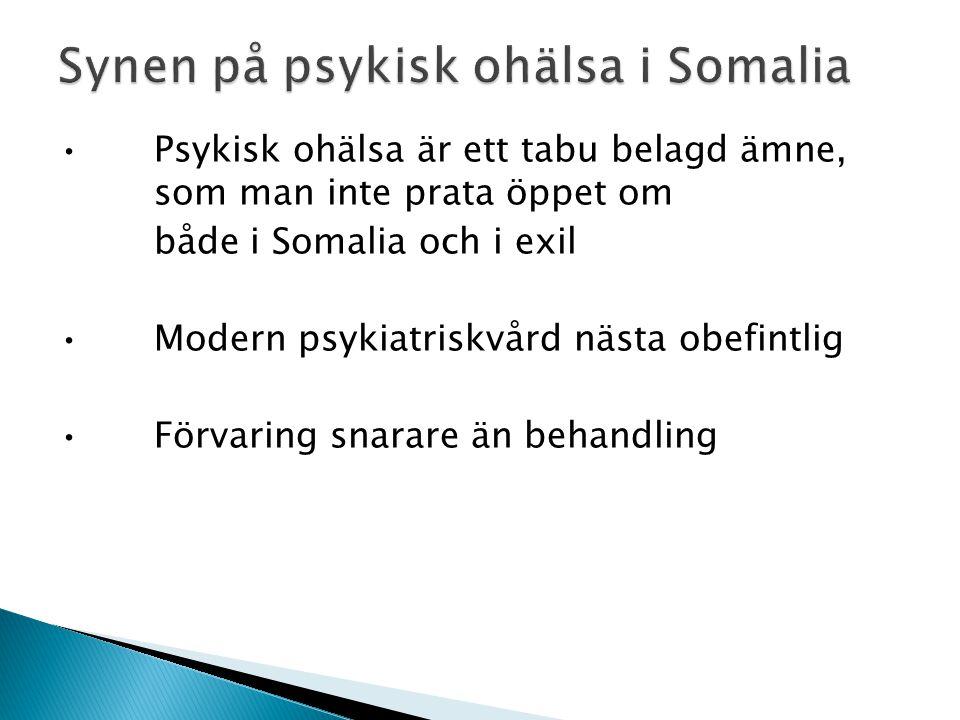Psykisk ohälsa är ett tabu belagd ämne, som man inte prata öppet om både i Somalia och i exil Modern psykiatriskvård nästa obefintlig Förvaring snarare än behandling