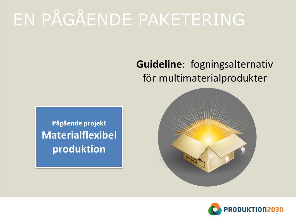 EN PÅGÅENDE PAKETERING Pågående projekt Materialflexibel produktion Pågående projekt Materialflexibel produktion Guideline: fogningsalternativ för multimaterialprodukter