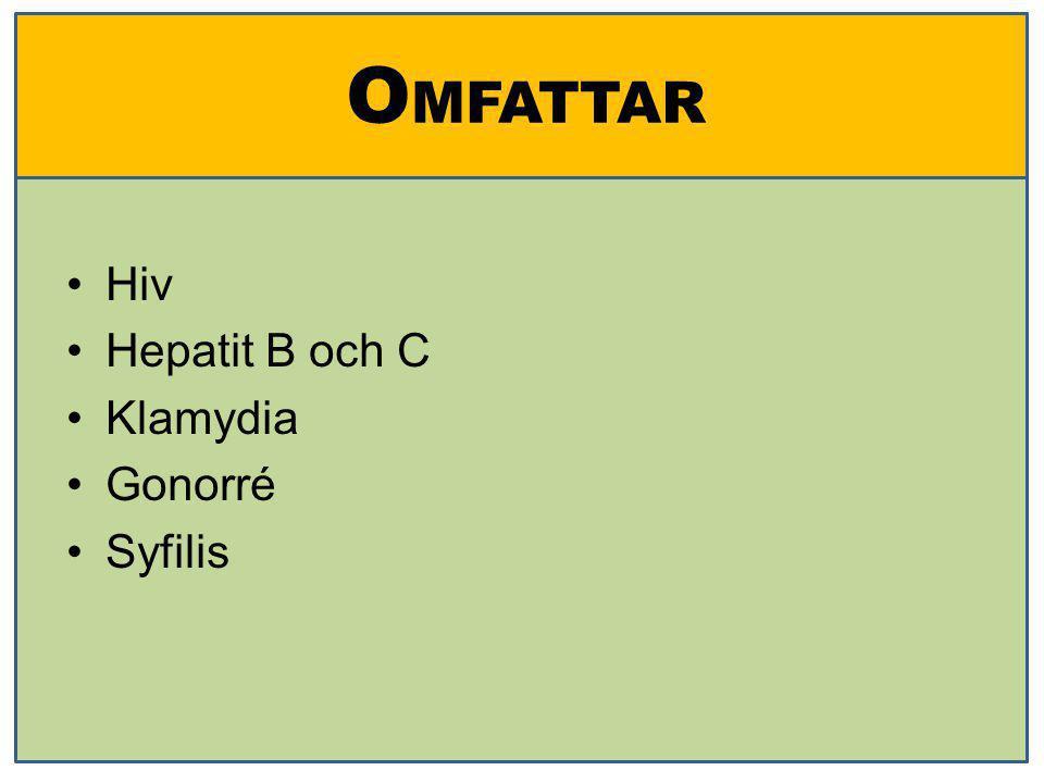 O MFATTAR Hiv Hepatit B och C Klamydia Gonorré Syfilis