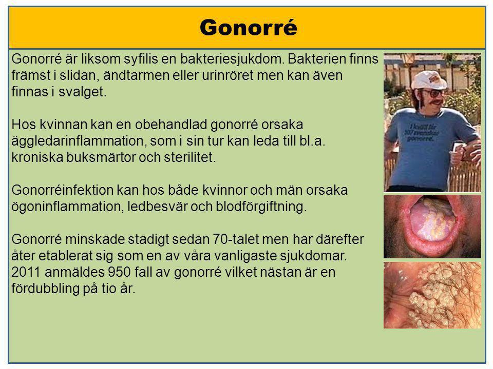 Gonorré Gonorré är liksom syfilis en bakteriesjukdom. Bakterien finns främst i slidan, ändtarmen eller urinröret men kan även finnas i svalget. Hos kv