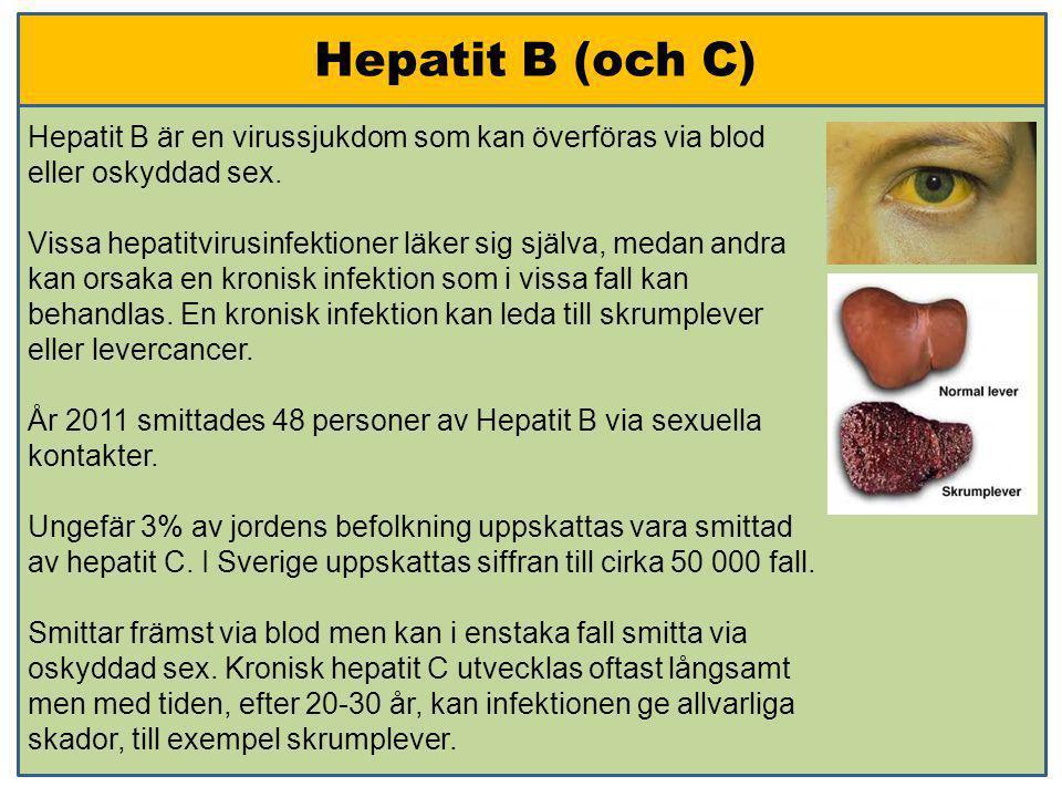 Hepatit B (och C) Hepatit B är en virussjukdom som kan överföras via blod eller oskyddad sex. Vissa hepatitvirusinfektioner läker sig själva, medan an