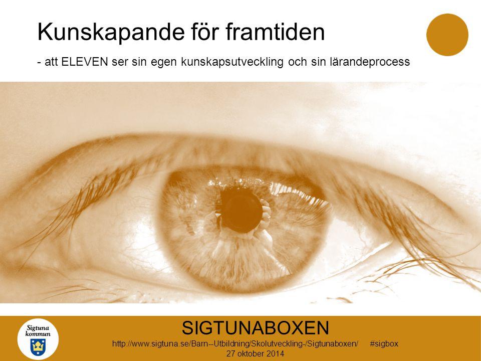Kunskapande för framtiden - att ELEVEN ser sin egen kunskapsutveckling och sin lärandeprocess SIGTUNABOXEN http://www.sigtuna.se/Barn--Utbildning/Skolutveckling-/Sigtunaboxen/ #sigbox 27 oktober 2014