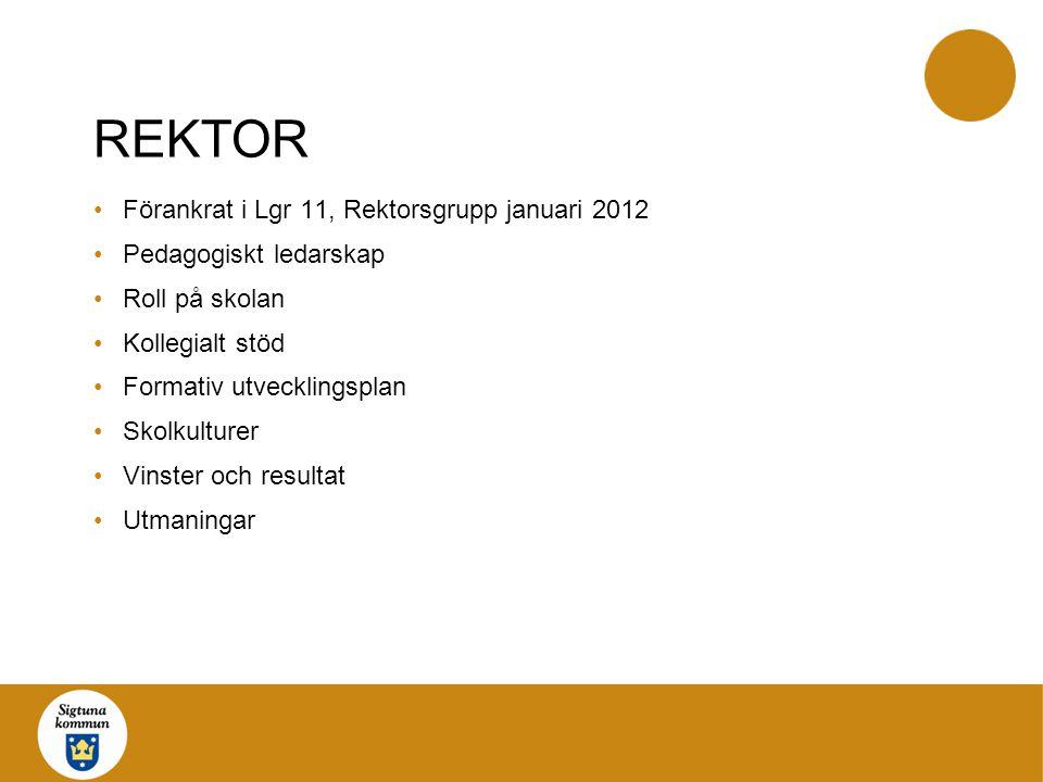 REKTOR Förankrat i Lgr 11, Rektorsgrupp januari 2012 Pedagogiskt ledarskap Roll på skolan Kollegialt stöd Formativ utvecklingsplan Skolkulturer Vinster och resultat Utmaningar