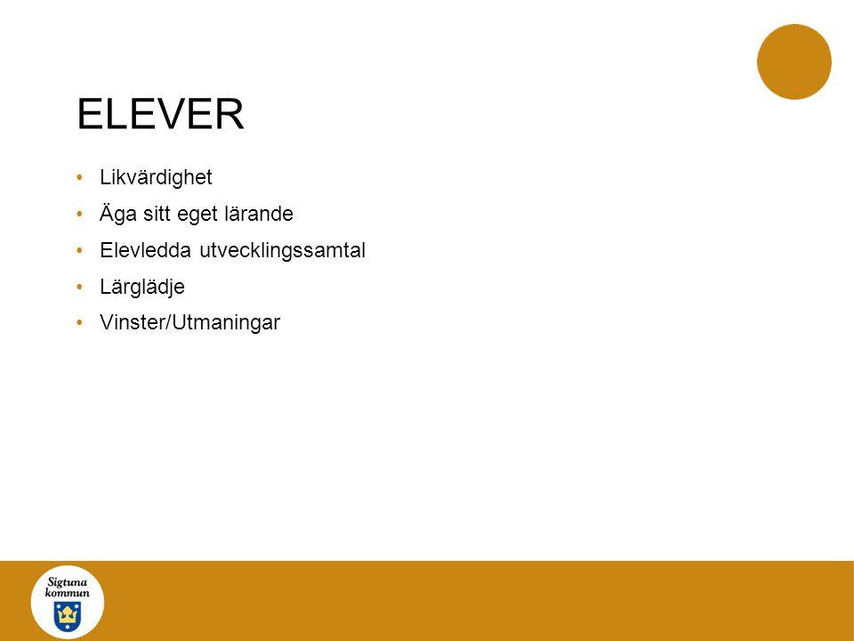 ELEVER Likvärdighet Äga sitt eget lärande Elevledda utvecklingssamtal Lärglädje Vinster/Utmaningar