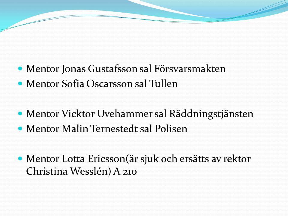 Mentor Jonas Gustafsson sal Försvarsmakten Mentor Sofia Oscarsson sal Tullen Mentor Vicktor Uvehammer sal Räddningstjänsten Mentor Malin Ternestedt sa