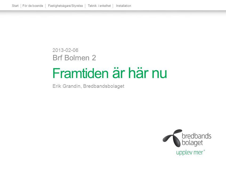 StartFör de boendeFastighetsägare/StyrelseTeknik i enkelhetInstallation Framtiden är här nu Erik Grandin, Bredbandsbolaget 2013-02-06 Brf Bolmen 2