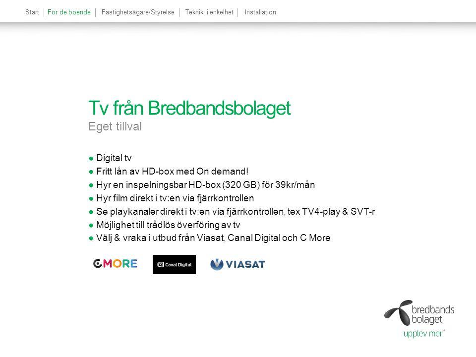 StartFör de boendeFastighetsägare/StyrelseTeknik i enkelhetInstallation Tv från Bredbandsbolaget Eget tillval ●Digital tv ●Fritt lån av HD-box med On