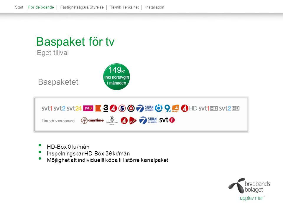 StartFör de boendeFastighetsägare/StyrelseTeknik i enkelhetInstallationFör de boende Baspaket för tv Eget tillval Baspaketet 0 r månaden 149 kr Inkl k