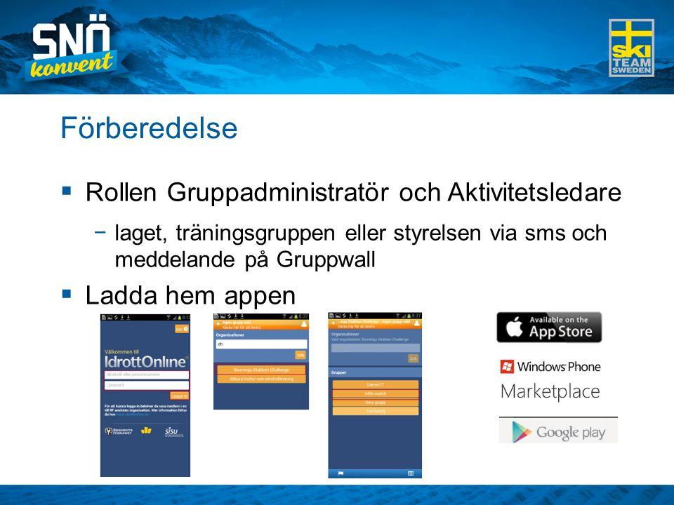 Förberedelse  Rollen Gruppadministratör och Aktivitetsledare −laget, träningsgruppen eller styrelsen via sms och meddelande på Gruppwall  Ladda hem appen
