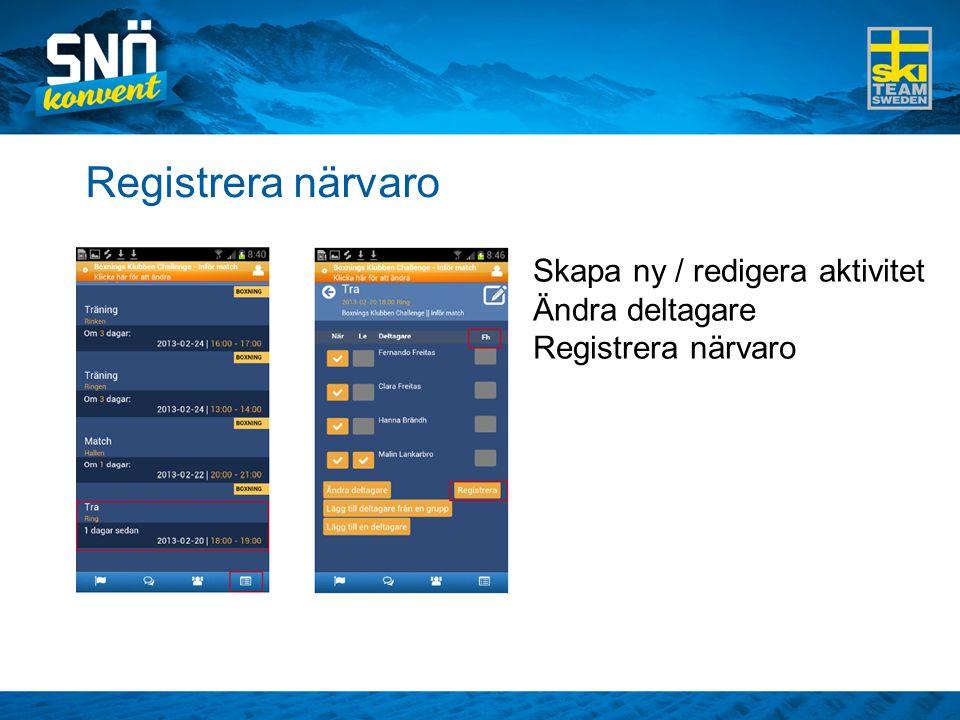 Registrera närvaro Skapa ny / redigera aktivitet Ändra deltagare Registrera närvaro