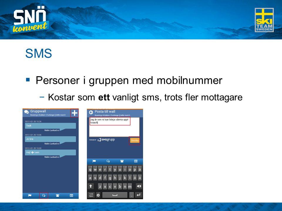 SMS  Personer i gruppen med mobilnummer −Kostar som ett vanligt sms, trots fler mottagare