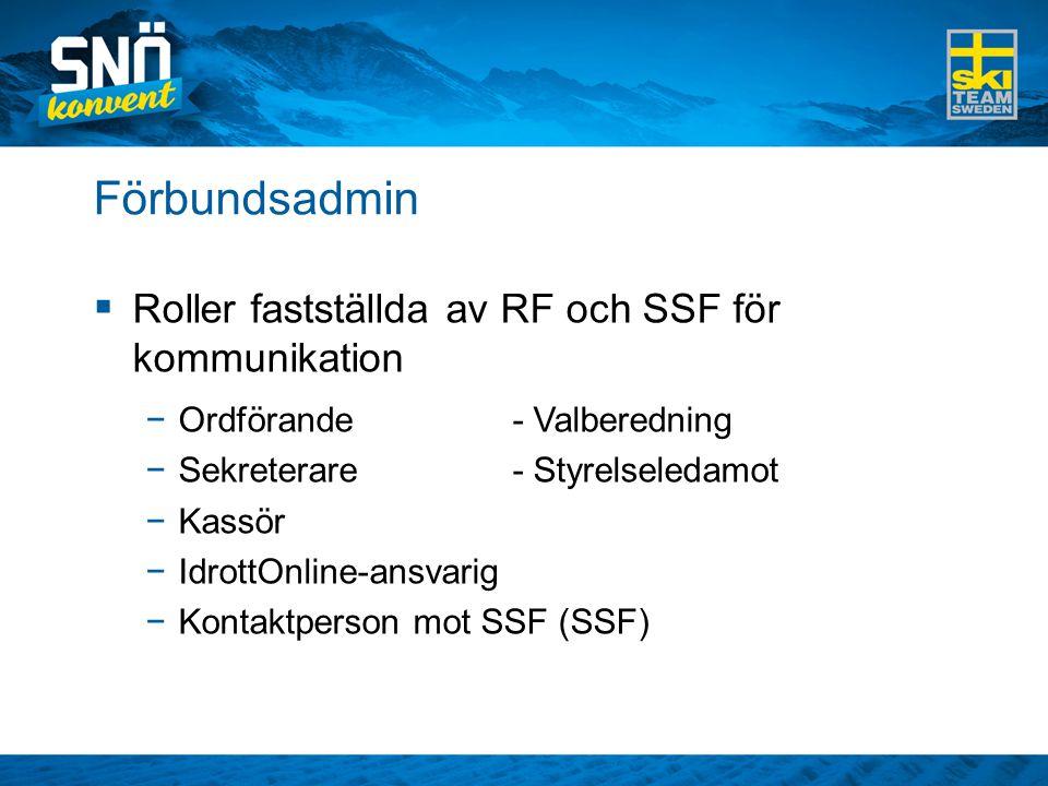 Förbundsadmin  Roller fastställda av RF och SSF för kommunikation −Ordförande- Valberedning −Sekreterare- Styrelseledamot −Kassör −IdrottOnline-ansvarig −Kontaktperson mot SSF (SSF)