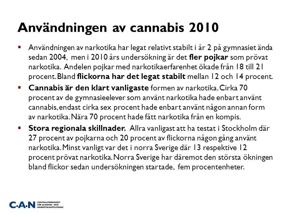 Användningen av cannabis 2010  Användningen av narkotika har legat relativt stabilt i år 2 på gymnasiet ända sedan 2004, men i 2010 års undersökning är det fler pojkar som prövat narkotika.