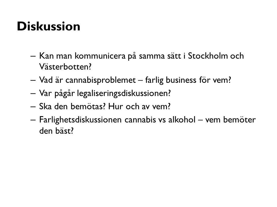 Diskussion – Kan man kommunicera på samma sätt i Stockholm och Västerbotten? – Vad är cannabisproblemet – farlig business för vem? – Var pågår legalis