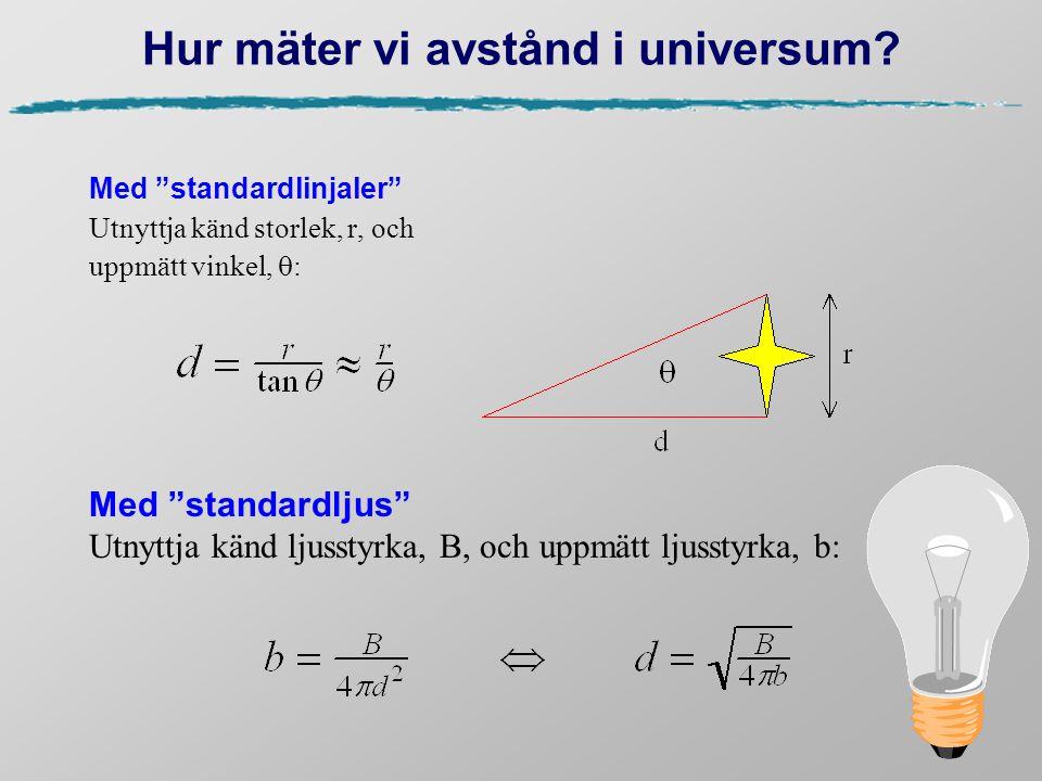 """Hur mäter vi avstånd i universum? Med """"standardlinjaler"""" Utnyttja känd storlek, r, och uppmätt vinkel,  : Med """"standardljus"""" Utnyttja känd ljusstyrka"""