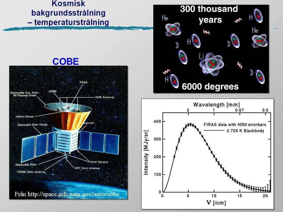 Kosmisk bakgrundsstrålning – temperaturstrålning COBE Från http://space.gsfc.nasa.gov/astro/cobe