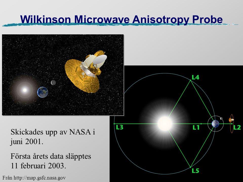 Wilkinson Microwave Anisotropy Probe Skickades upp av NASA i juni 2001. Första årets data släpptes 11 februari 2003. Från http://map.gsfc.nasa.gov