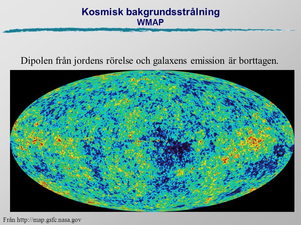 Kosmisk bakgrundsstrålning WMAP Dipolen från jordens rörelse och galaxens emission är borttagen. Från http://map.gsfc.nasa.gov