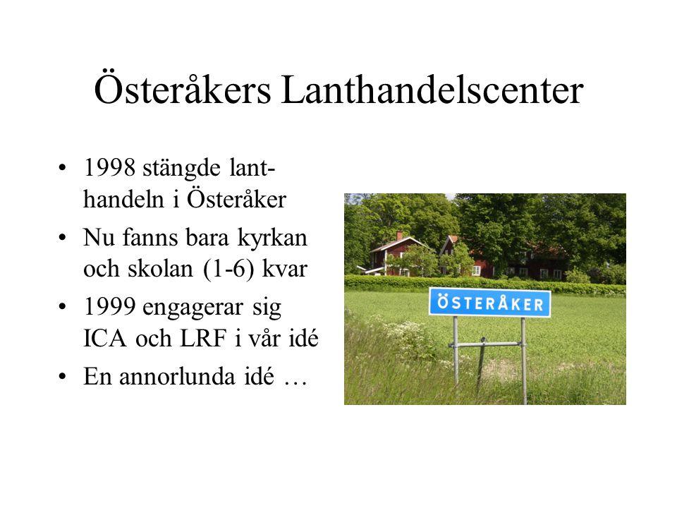 Österåkers Lanthandelscenter 1998 stängde lant- handeln i Österåker Nu fanns bara kyrkan och skolan (1-6) kvar 1999 engagerar sig ICA och LRF i vår idé En annorlunda idé …