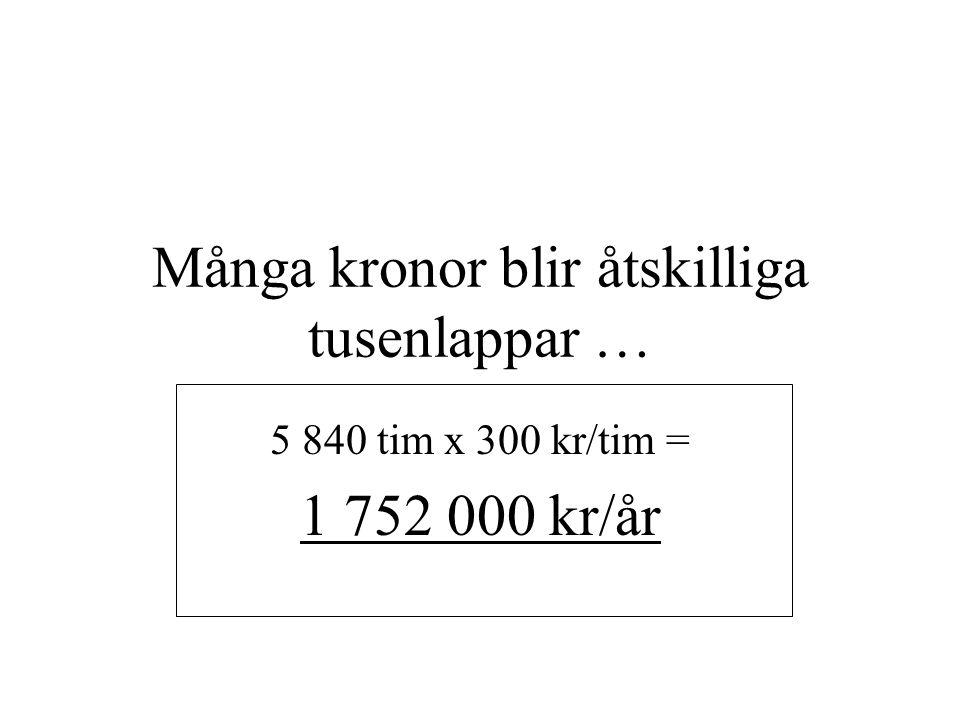 Många kronor blir åtskilliga tusenlappar … 5 840 tim x 300 kr/tim = 1 752 000 kr/år