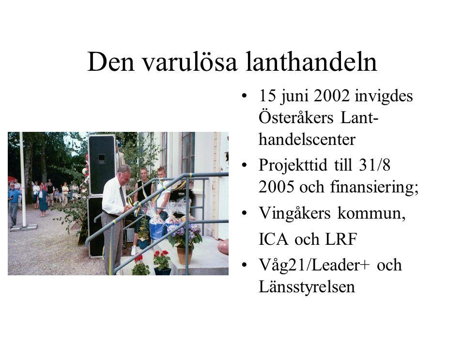 Den varulösa lanthandeln 15 juni 2002 invigdes Österåkers Lant- handelscenter Projekttid till 31/8 2005 och finansiering; Vingåkers kommun, ICA och LRF Våg21/Leader+ och Länsstyrelsen