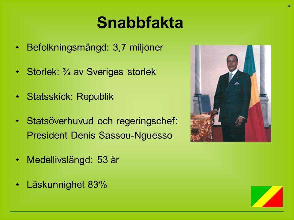 Befolkningsmängd: 3,7 miljoner Storlek: ¾ av Sveriges storlek Statsskick: Republik Statsöverhuvud och regeringschef: President Denis Sassou-Nguesso Me