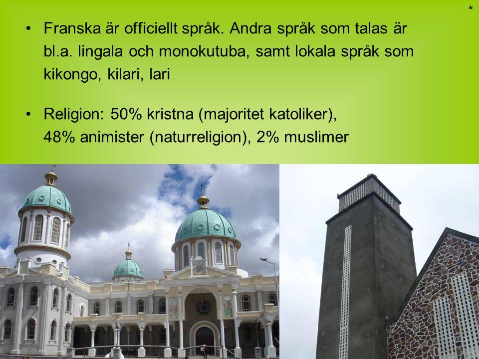 Franska är officiellt språk. Andra språk som talas är bl.a. lingala och monokutuba, samt lokala språk som kikongo, kilari, lari Religion: 50% kristna