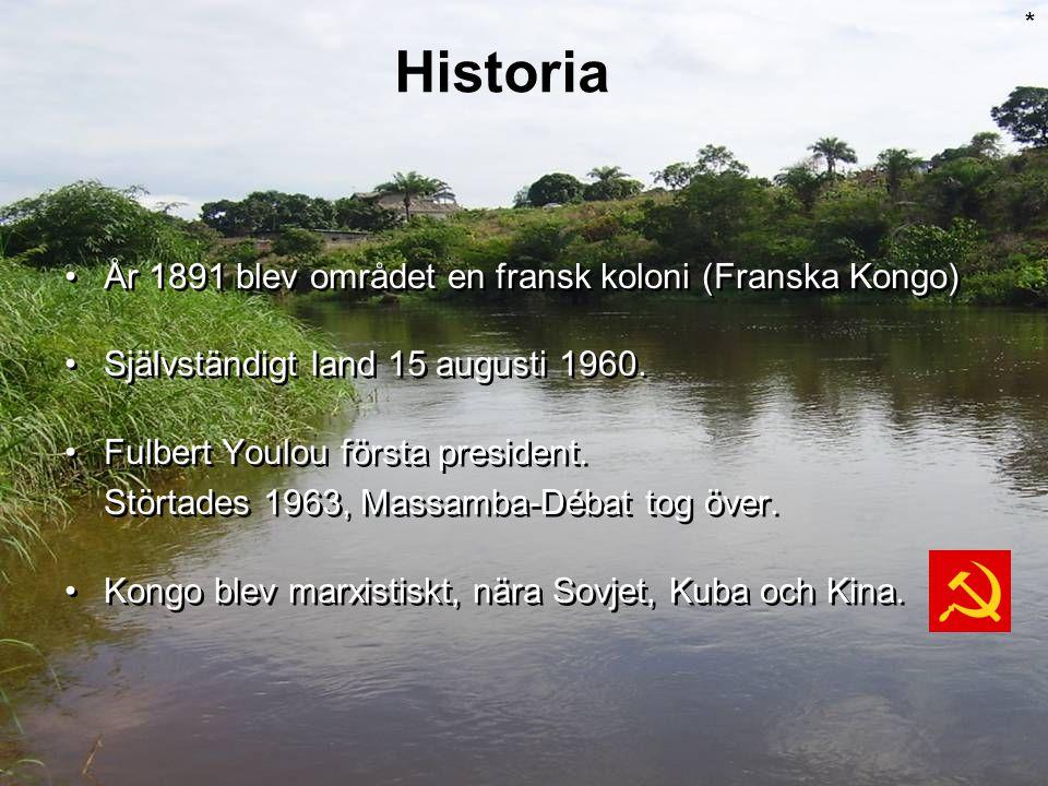 År 1891 blev området en fransk koloni (Franska Kongo) Självständigt land 15 augusti 1960. Fulbert Youlou första president. Störtades 1963, Massamba-Dé