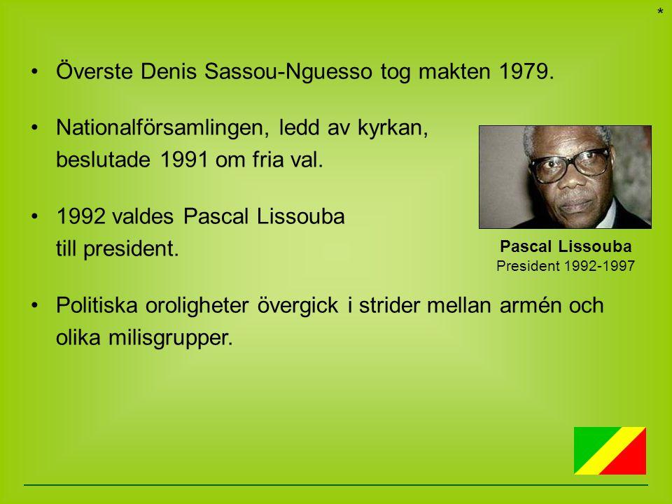 Överste Denis Sassou-Nguesso tog makten 1979. Nationalförsamlingen, ledd av kyrkan, beslutade 1991 om fria val. 1992 valdes Pascal Lissouba till presi