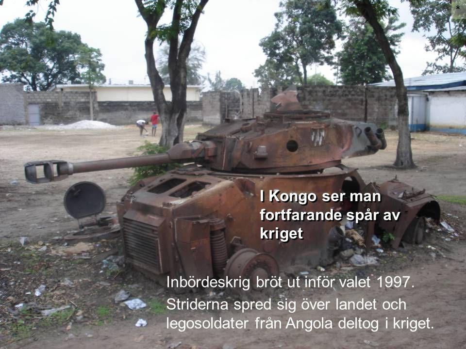 I Kongo ser man fortfarande spår av kriget * Inbördeskrig bröt ut inför valet 1997. Striderna spred sig över landet och legosoldater från Angola delto