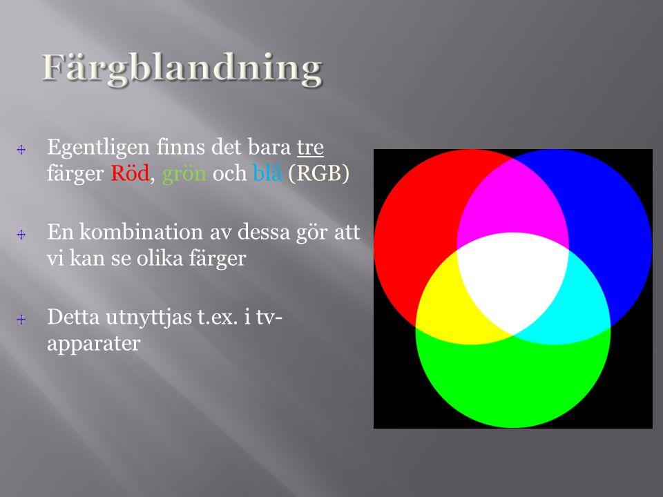Egentligen finns det bara tre färger Röd, grön och blå (RGB) En kombination av dessa gör att vi kan se olika färger Detta utnyttjas t.ex. i tv- appara