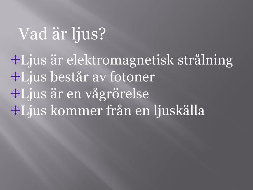 Vad är ljus? Ljus är elektromagnetisk strålning Ljus består av fotoner Ljus är en vågrörelse Ljus kommer från en ljuskälla