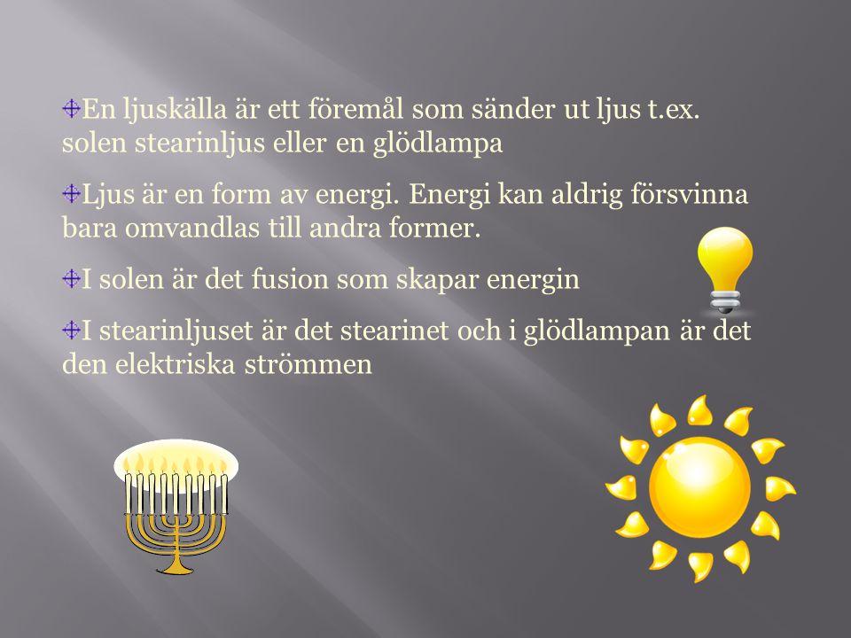 En ljuskälla är ett föremål som sänder ut ljus t.ex. solen stearinljus eller en glödlampa Ljus är en form av energi. Energi kan aldrig försvinna bara