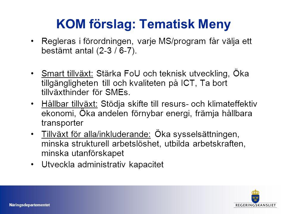 Näringsdepartementet KOM förslag: Tematisk Meny Regleras i förordningen, varje MS/program får välja ett bestämt antal (2-3 / 6-7).