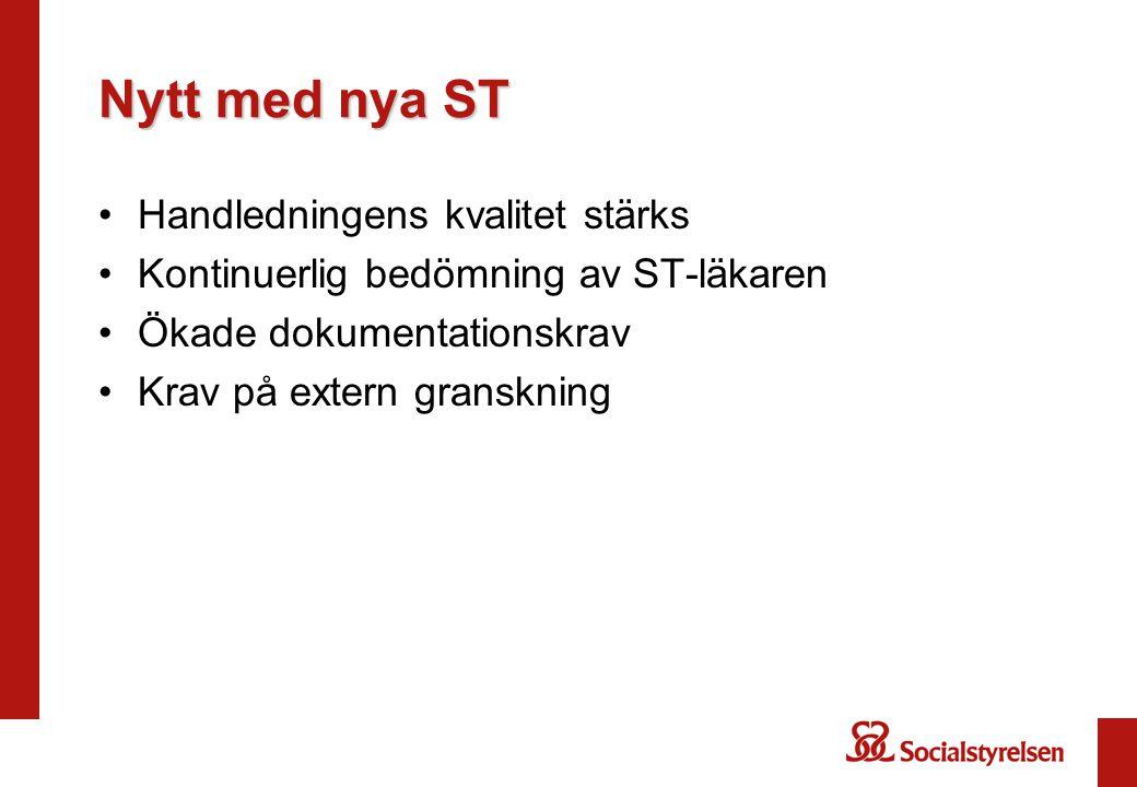 Nytt med nya ST Handledningens kvalitet stärks Kontinuerlig bedömning av ST-läkaren Ökade dokumentationskrav Krav på extern granskning