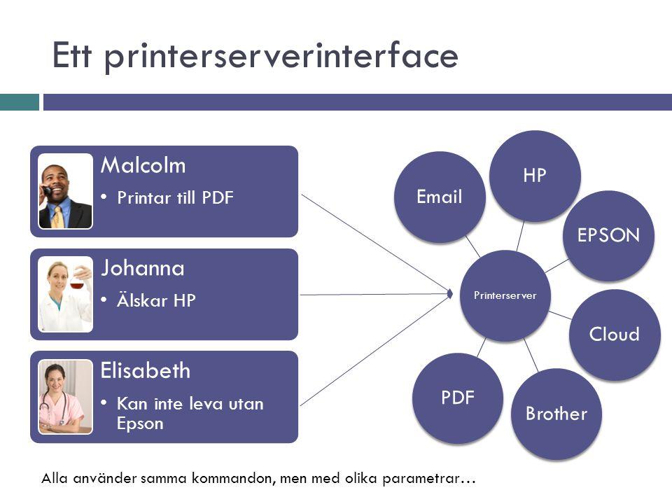 Ett printerserverinterface Printerserver HP EPSON Cloud BrotherPDF Email Malcolm Printar till PDF Johanna Älskar HP Elisabeth Kan inte leva utan Epson Alla använder samma kommandon, men med olika parametrar…