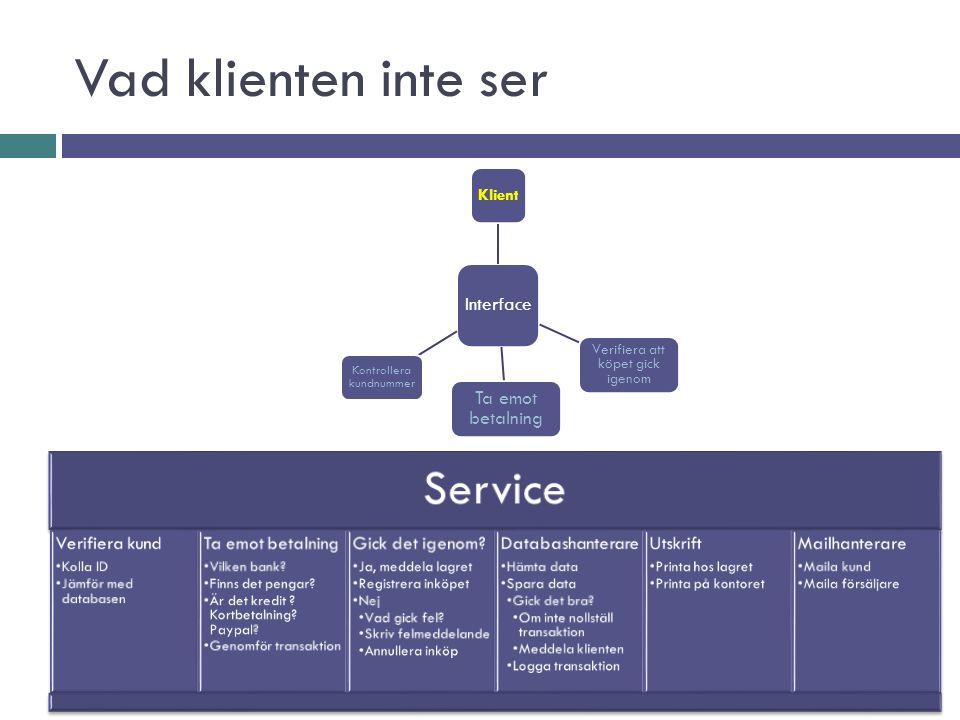 Vad klienten inte ser Service Verifiera kund Kolla ID Jämför med databasen Ta emot betalning Vilken bank.